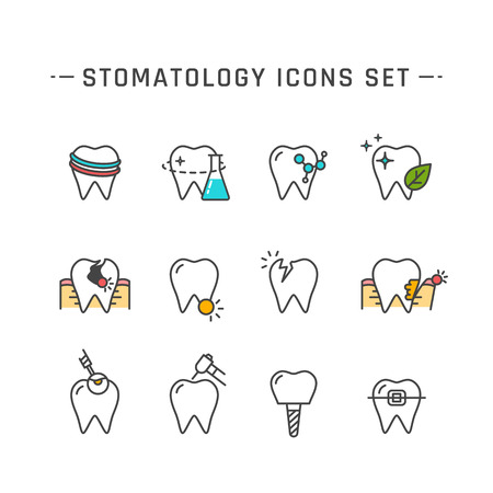 Stomatology flat line icons set. illustration