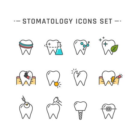 ustawić Stomatologia płaska linia ikon. ilustracja