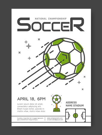 Soccer championship line posters design. Sport competition. illustration. Vector Illustration
