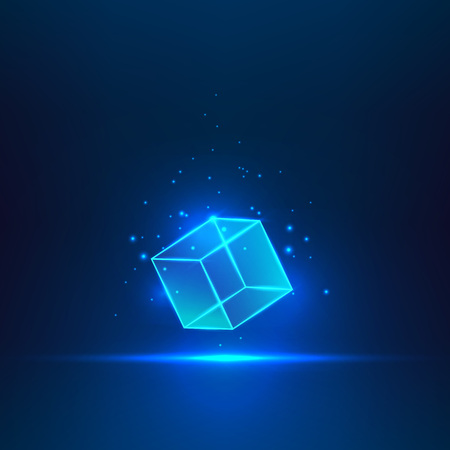 aloft: Blue glass cube. Geometric object floating in the air.