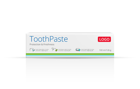Packaging design toothpaste vector template. Box package front view.