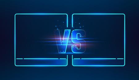 Versus screen design. Blauw neon VS letters. vector illustratie