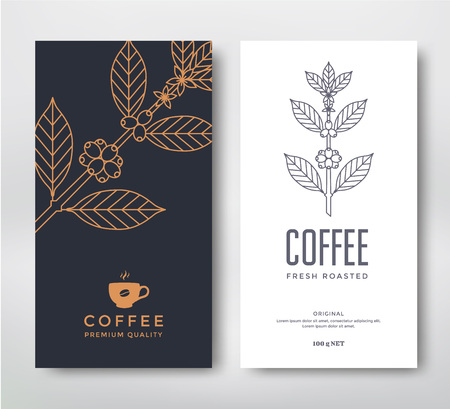 product packaging: Packaging design for a coffee. Vector template. Line style vector illustration. Coffee branch.