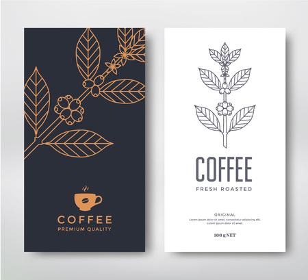 Verpakking ontwerp voor een koffie. Vector sjabloon. Lijn stijl vector illustratie. Koffie tak.