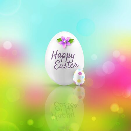 greeting card background: Happy Easter greeting card. Eggs on a colorful background.
