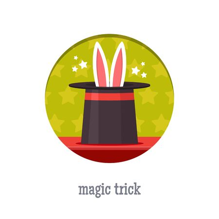 hatband: Magic trick icon. Rabbit in a magic hat. Flat style vector illustration. Illustration