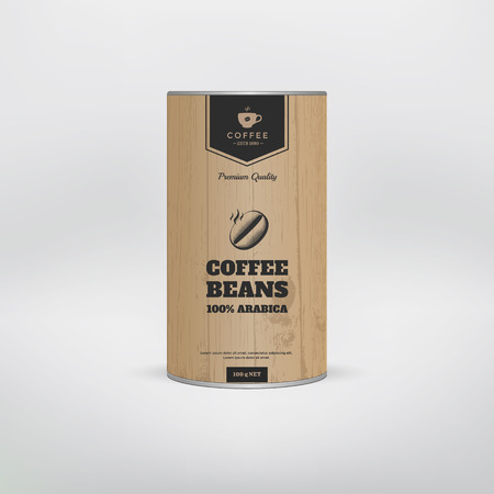 Mockup coffee packaging template. Tin package. Vector illustration