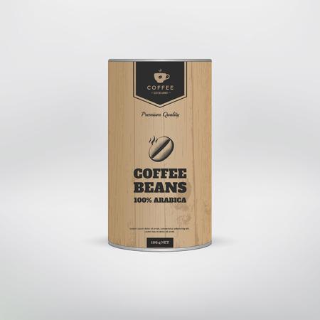 Mockup koffie verpakking template. Blikverpakking. vector illustratie Vector Illustratie