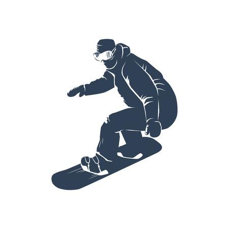 snowboarder: Snowboarder vector illustration isolated on white background. Illustration