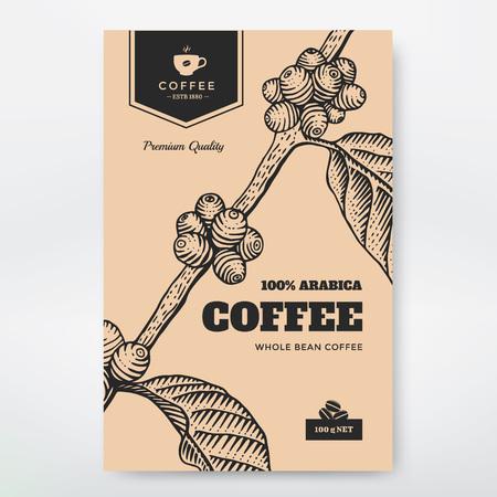 planta de cafe: Diseño Envases de café. Ilustración del café rama grabado. Vectores