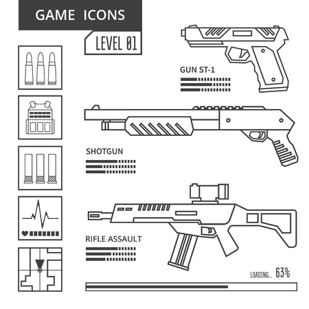 shooter: Weapon line icons in the genre of shooter or action. Game icon. Vector illustration Illustration