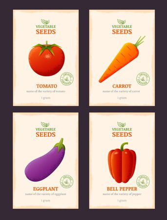 harvesting: Packaging design for vegetable seeds. Vector template