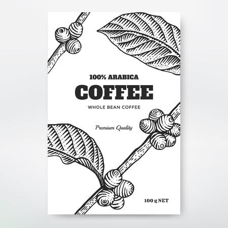 コーヒーのパッケージ デザイン。コーヒーのブランチ彫刻イラスト。  イラスト・ベクター素材