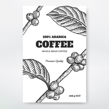 bush bean: Coffee Packaging Design. Coffee branch engraving illustration. Illustration