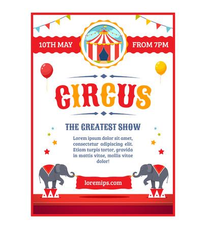 Circus greatest show poster template. Cartoon illustration. Vettoriali