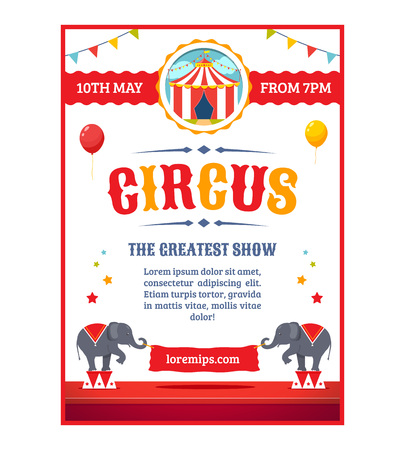 Circus greatest show poster template. Cartoon illustration. Vectores