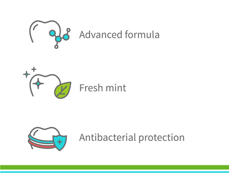 antibacterial: Dental icons. Advanced formula Fresh mint. Antibacterial protection. Illustration