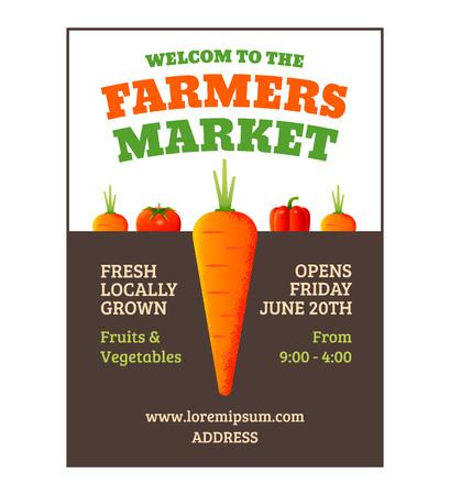 ファーマーズマーケットは、野菜とポスター テンプレート。  イラスト・ベクター素材