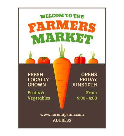 farmer: Farmers market poster template with vegetables.