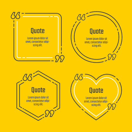 citing: Quote blank template set. Quote icon in line style.