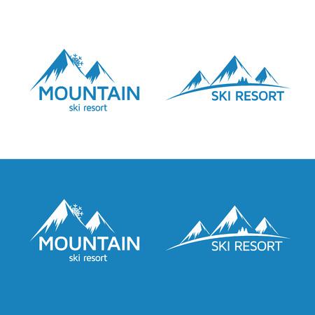 snow mountain peak: Ski resort logo template. Mountain silhouette.