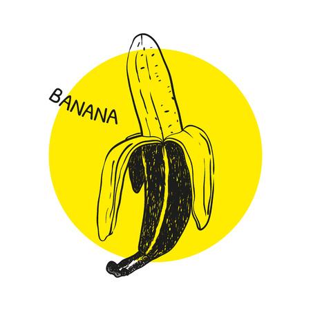 hand print: Hand drawn banana illustration. T-shirt print.