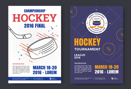 playoff: Ice hockey championship poster. Vector line illustration hockey stadium and puck. Illustration