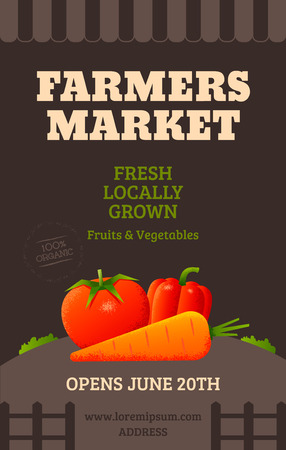 Farmers market poster template with vegetables tomato carrot pepper. Vector illustration Illustration