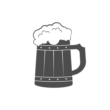 handles: Wooden mug with beer. Beer icon. Vector illustration