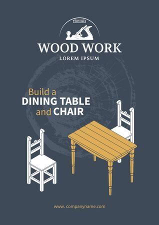 muebles de madera: cartel de muebles de madera. mesa y sillas isométrica. Trabajo de madera.