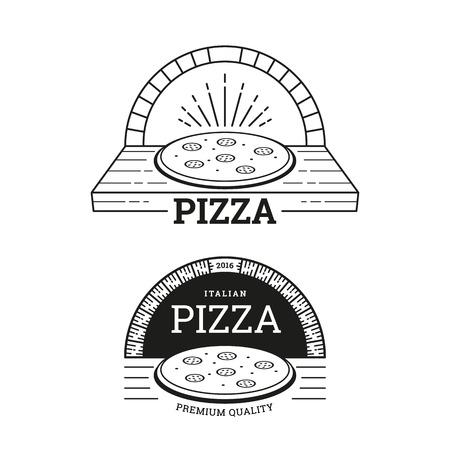 Pizza de diseño de etiquetas. Horno de ladrillo. Ilustración del vector en estilo de línea.