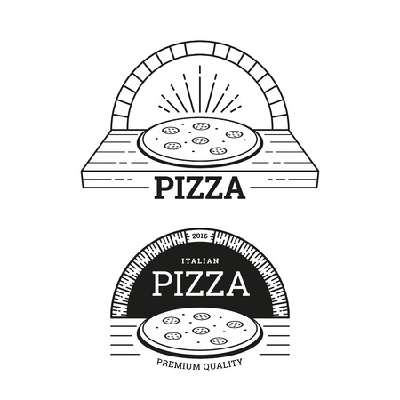 Pizza labels design. Brick oven. Vector illustration in line style. Illustration