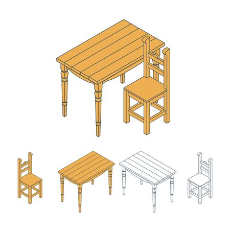 chair wooden: Isometric vector illustration table and chair. Wooden furniture Illustration