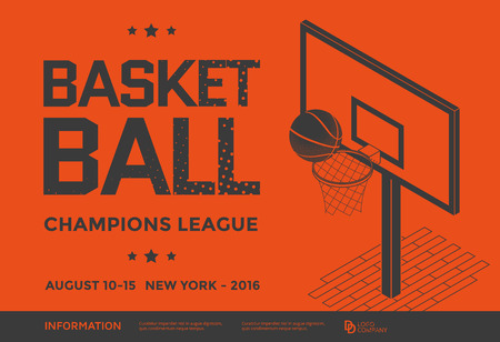 Basketball champions league poster. Ball with basketball backboard. Vector illustration