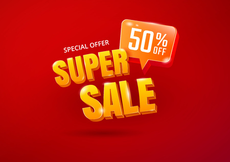 Super Sale poster. Sale 3d typography. Advertising lettering. Vector