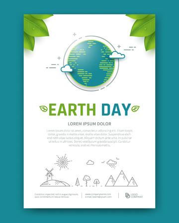 地球の日のパンフレットやポスター ベクトル テンプレート。直線的なスタイルの惑星。