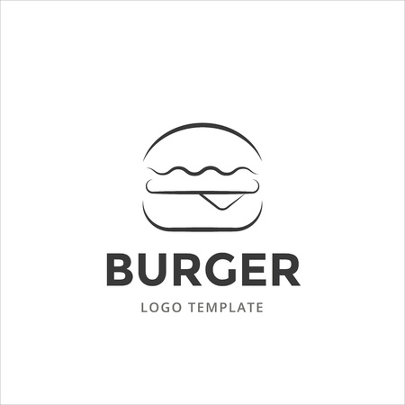 Burger vector logo template in line style.  イラスト・ベクター素材