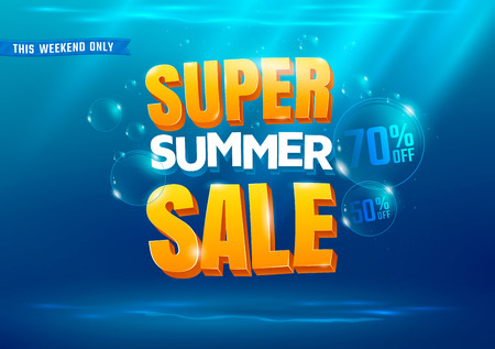 Super summer sale poster with sea background. Çizim