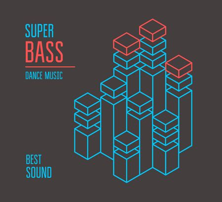 sine wave: Super bass music cover. Isometric equalizer. Vector