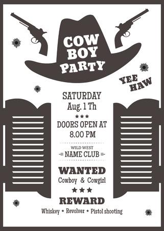 Cartel del partido del vaquero o invitación en estilo occidental. silueta de sombrero de vaquero con el texto. ilustración vectorial