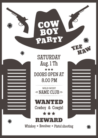 Cowboy party poster or invitation in western style. Cowboy hat silhouette with text. Vector illustration Ilustracja