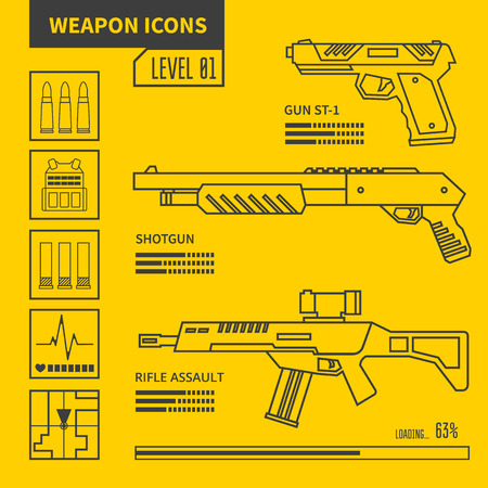 weapons: Weapon vector line icons. Design elements for interface. Illustration