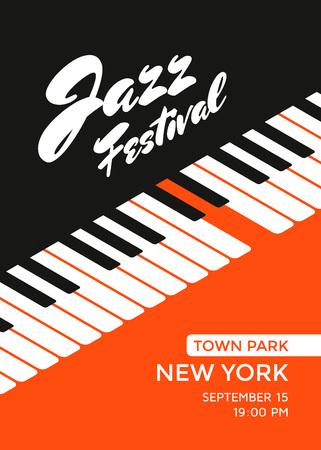 ジャズ音楽祭ポスター デザイン テンプレートです。ピアノのキー。ジャズ コンサートのベクトル イラストのプラカード。