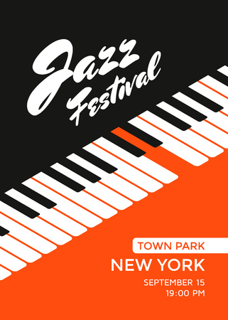Jazz music festival poster design template. Piano keys. Vector illustration placard for jazz concert. Ilustração