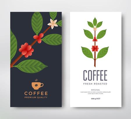 コーヒーのパッケージ デザイン。ベクトル テンプレート パッケージです。コーヒーのブランチ ベクトル イラスト。コーヒーのベリーとコーヒー植