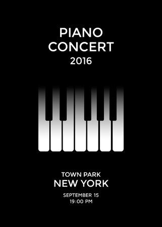 Piano concert poster design. Piano keys. Vector illustration