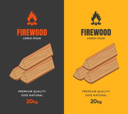 firewood: Packaging design for firewood. Firewood flat isometric illustration. Vector Illustration