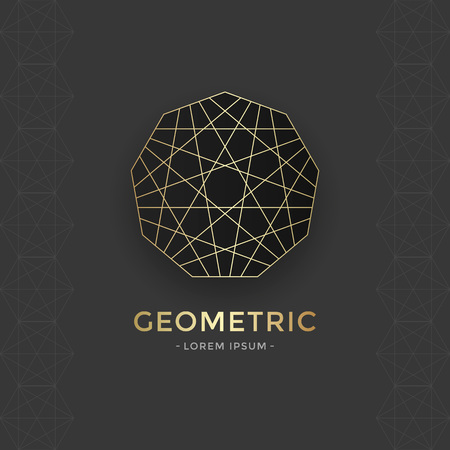energy healing: Sacred Geometric emblem with gold line. Vector abstract sacred symbol. Illustration