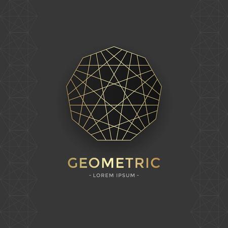 spiritual meditation creation: Sacred Geometric emblem with gold line. Vector abstract sacred symbol. Illustration