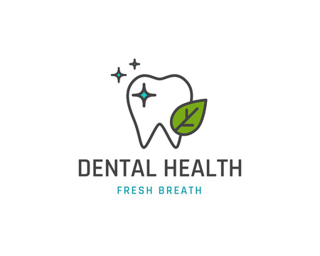 dental health: Dental health icon or template. Tooth with leaf line sign. Vector